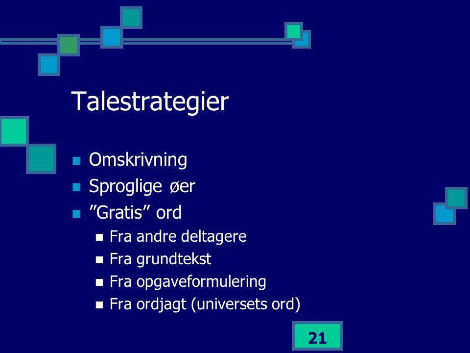 Talestrategier Omskrivning Sproglige øer Gratis ord