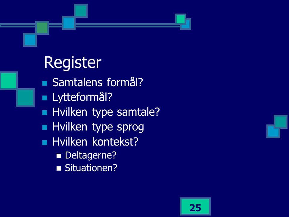 Register Samtalens formål Lytteformål Hvilken type samtale