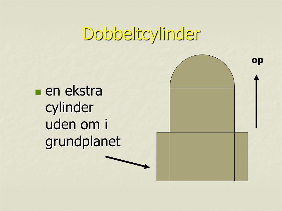 Dobbeltcylinder op en ekstra cylinder uden om i grundplanet