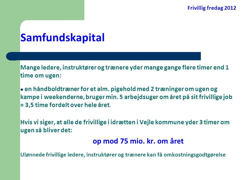 Frivillig fredag 2012 Samfundskapital. Mange ledere, instruktører og trænere yder mange gange flere timer end 1 time om ugen:
