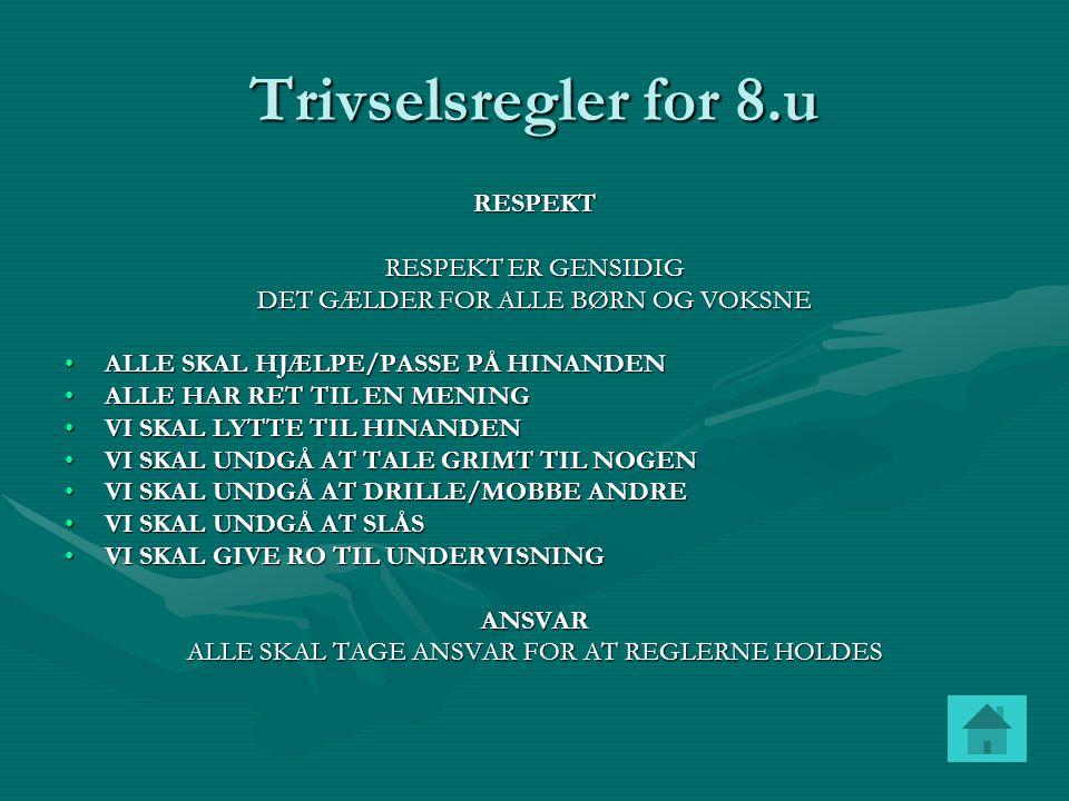 Trivselsregler for 8.u RESPEKT RESPEKT ER GENSIDIG