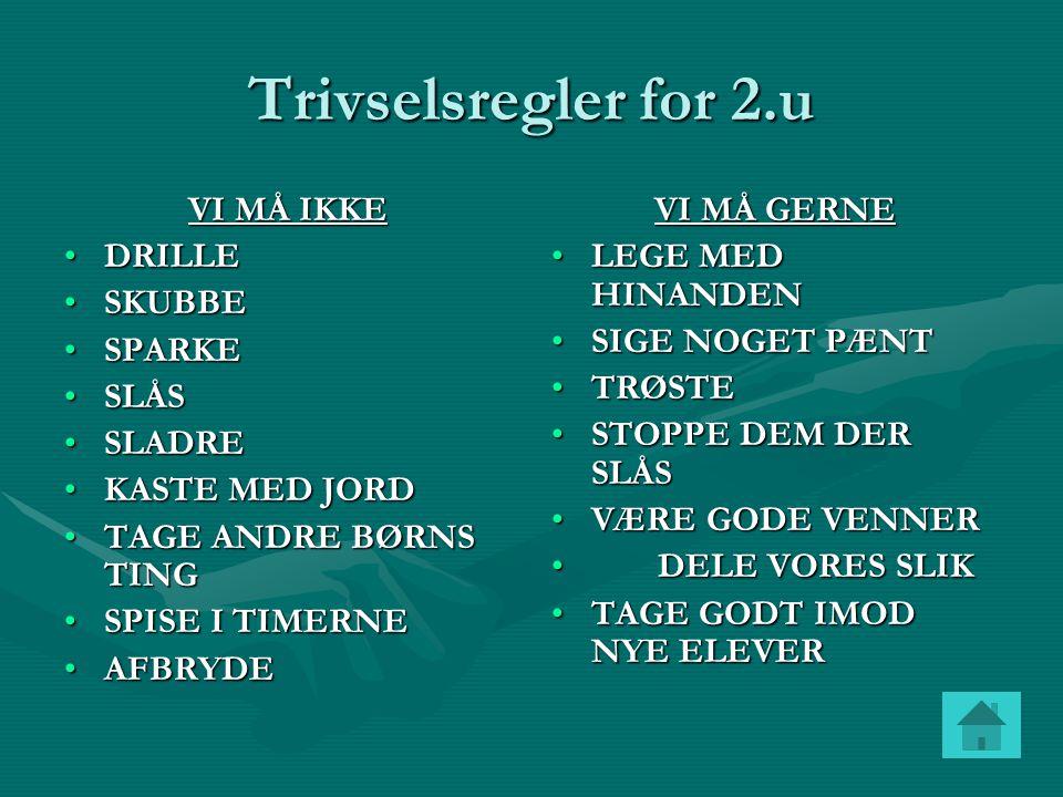 Trivselsregler for 2.u VI MÅ IKKE DRILLE SKUBBE SPARKE SLÅS SLADRE
