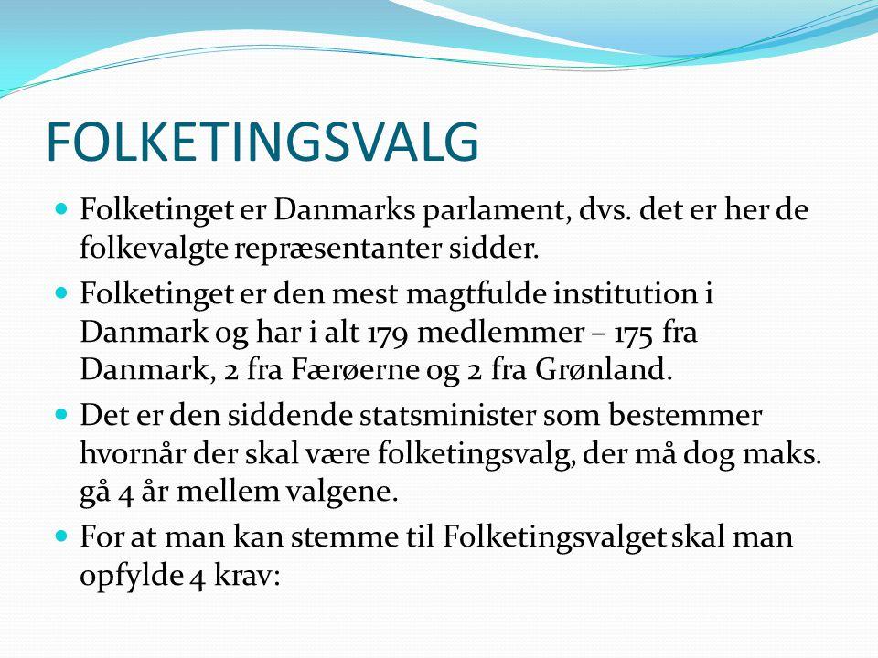 FOLKETINGSVALG Folketinget er Danmarks parlament, dvs. det er her de folkevalgte repræsentanter sidder.