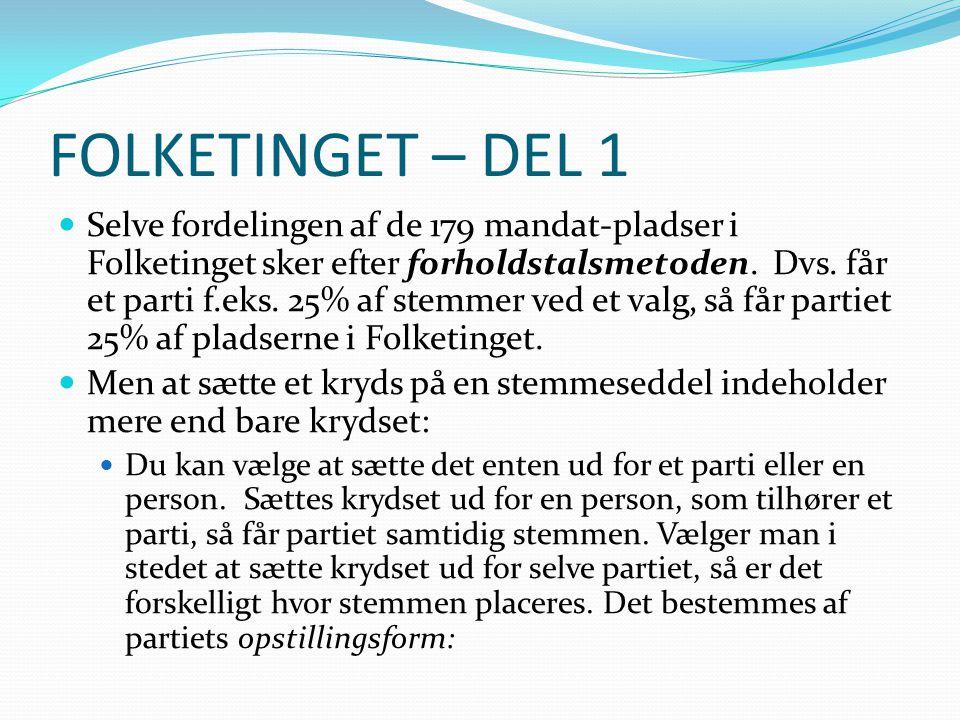 FOLKETINGET – DEL 1