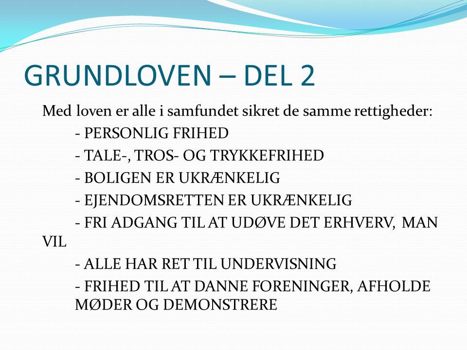 GRUNDLOVEN – DEL 2