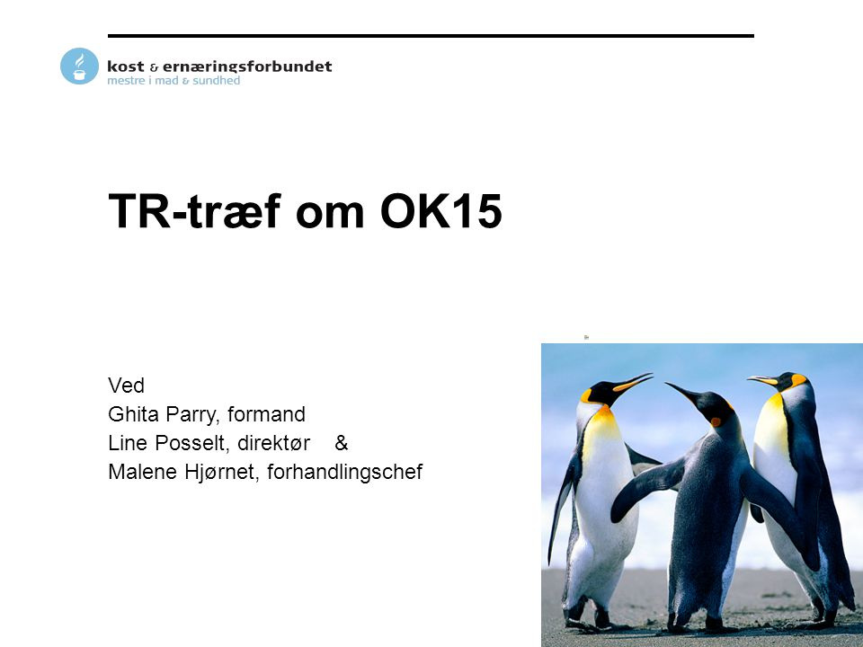 TR-træf om OK15 Ved Ghita Parry, formand Line Posselt, direktør &