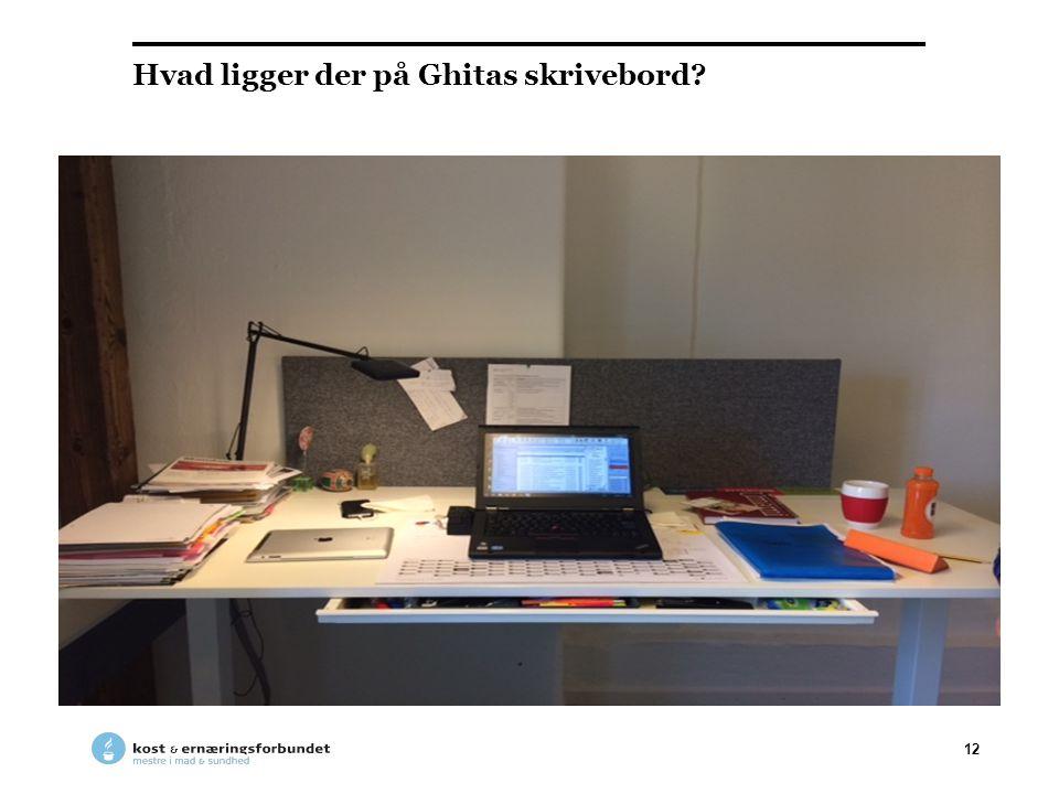 Hvad ligger der på Ghitas skrivebord