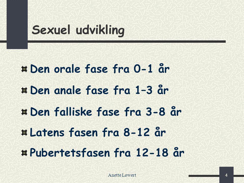 Sexuel udvikling Den orale fase fra 0-1 år Den anale fase fra 1–3 år