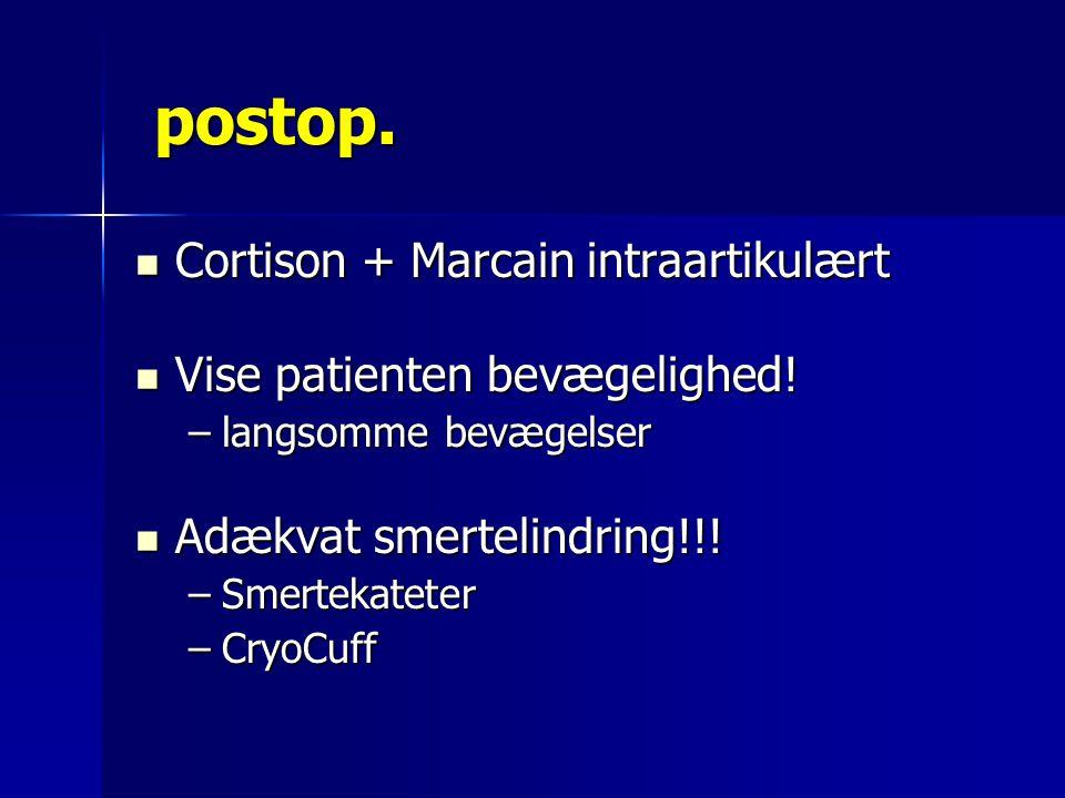 postop. Cortison + Marcain intraartikulært
