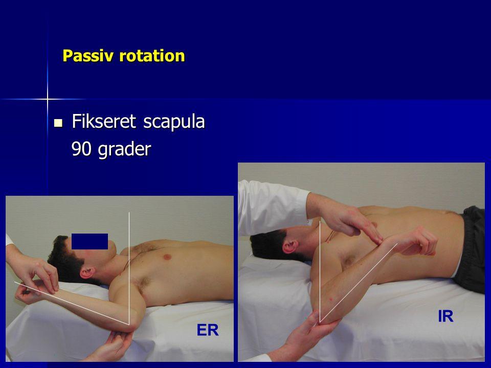 Passiv rotation Fikseret scapula 90 grader IR ER