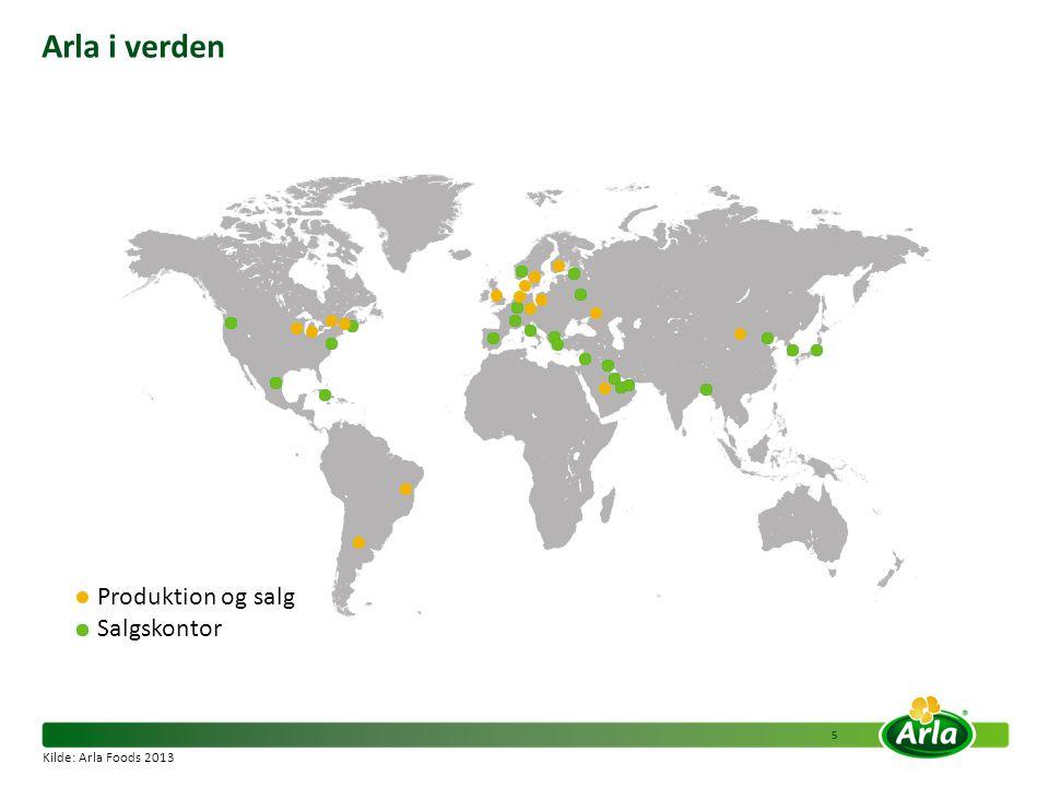 Arla i verden Produktion og salg Salgskontor Kilde: Arla Foods 2013