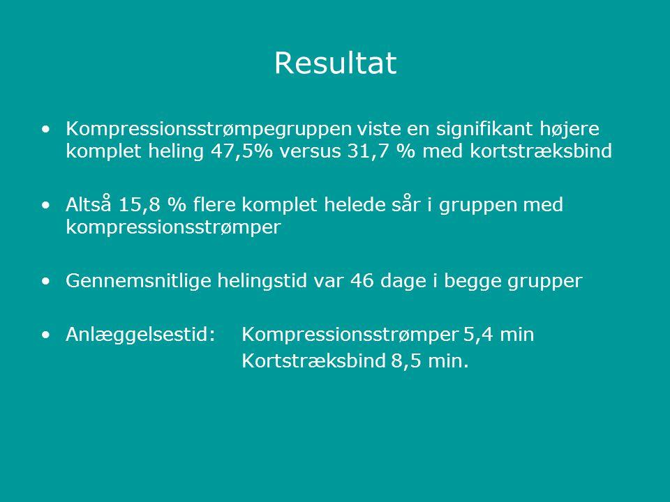 Resultat Kompressionsstrømpegruppen viste en signifikant højere komplet heling 47,5% versus 31,7 % med kortstræksbind.
