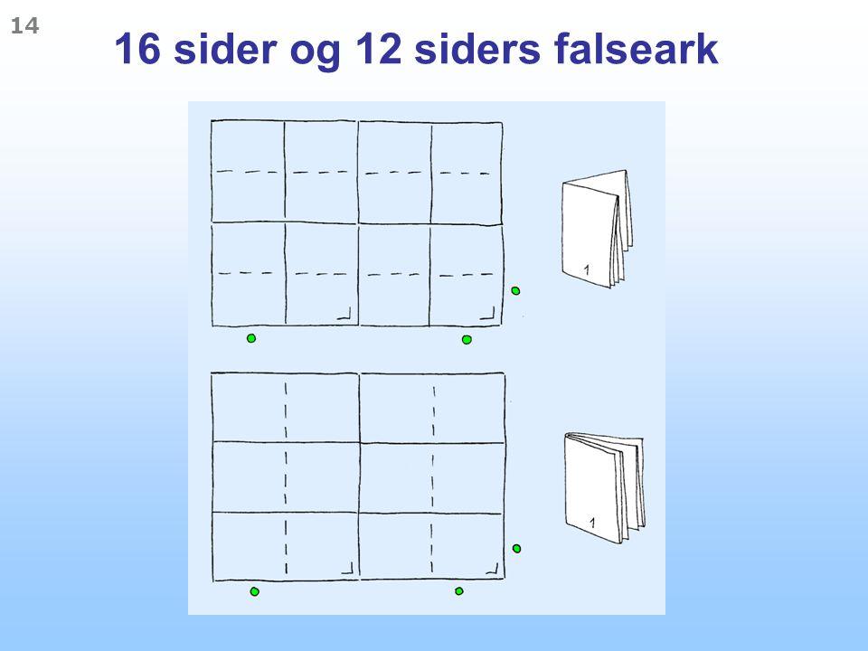 16 sider og 12 siders falseark