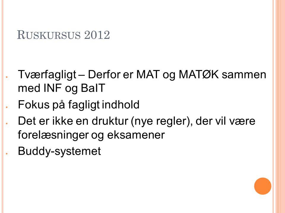 Ruskursus 2012 Tværfagligt – Derfor er MAT og MATØK sammen med INF og BaIT. Fokus på fagligt indhold.