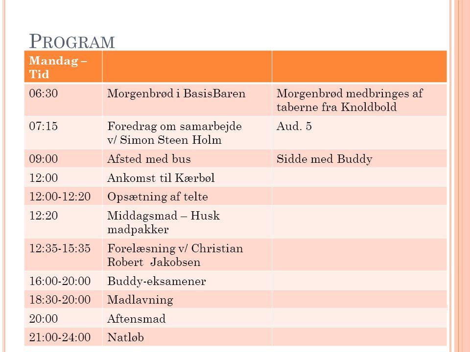 Program Mandag – Tid 06:30 Morgenbrød i BasisBaren
