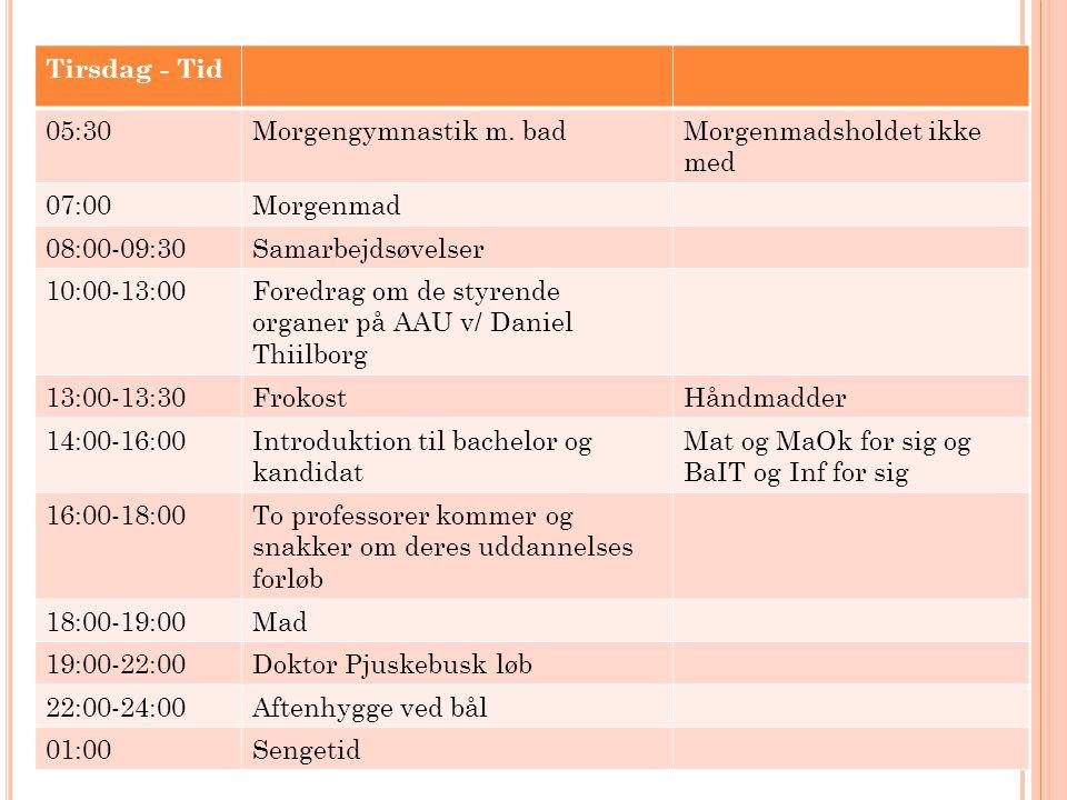 Tirsdag - Tid 05:30. Morgengymnastik m. bad. Morgenmadsholdet ikke med. 07:00. Morgenmad. 08:00-09:30.