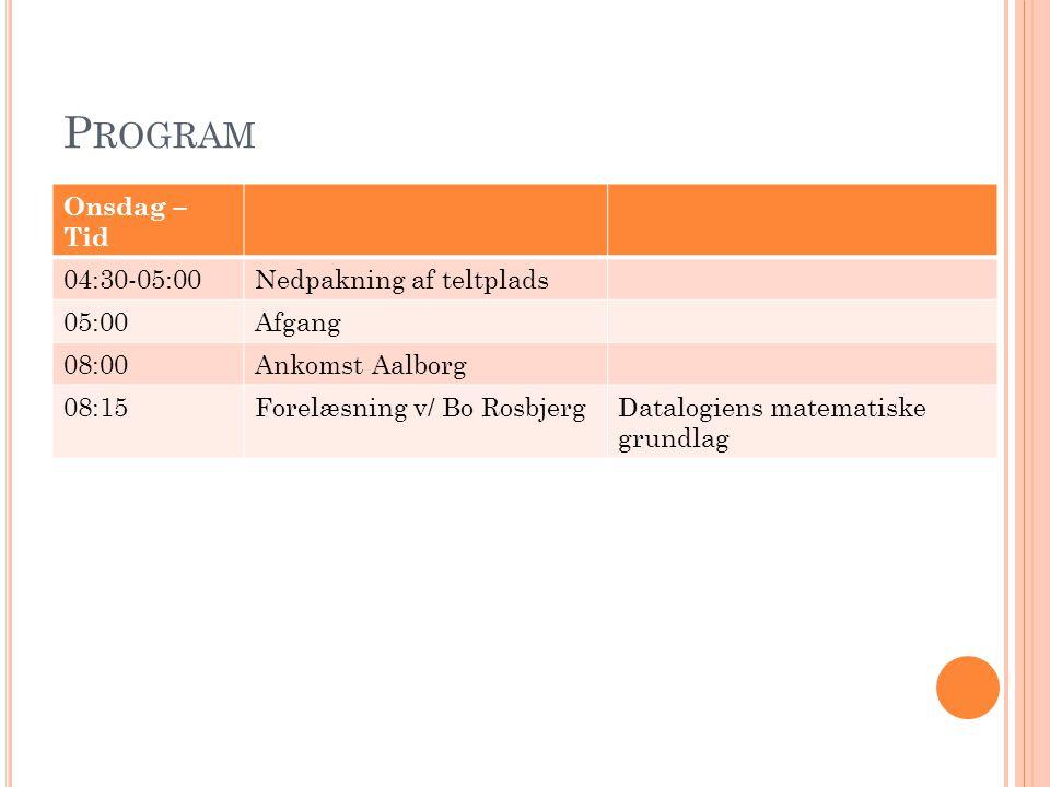 Program Onsdag – Tid 04:30-05:00 Nedpakning af teltplads 05:00 Afgang
