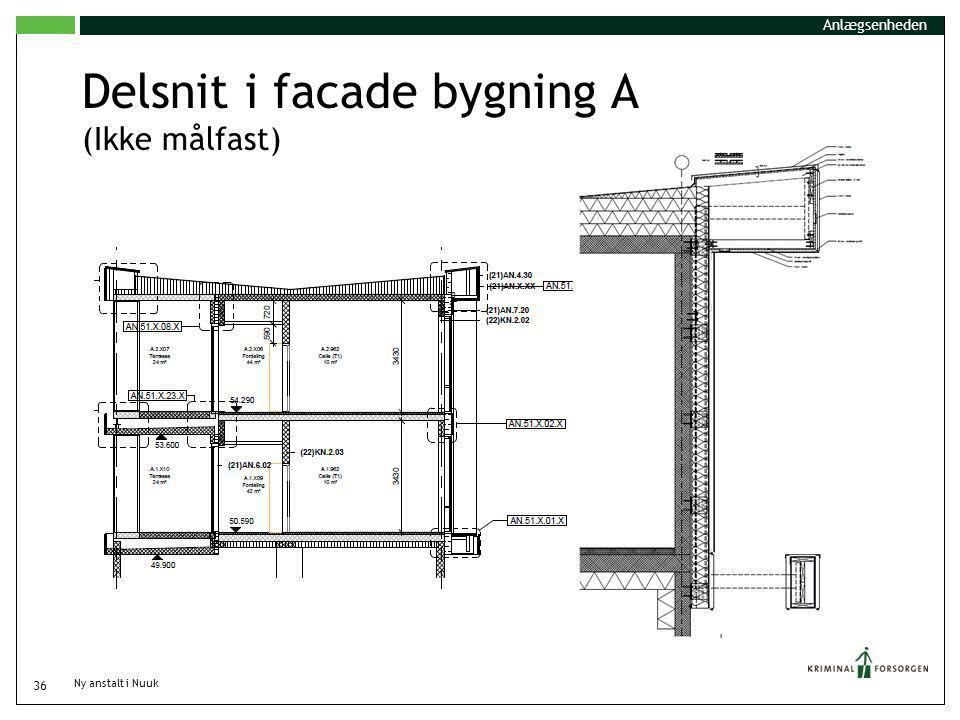 Delsnit i facade bygning A (Ikke målfast)