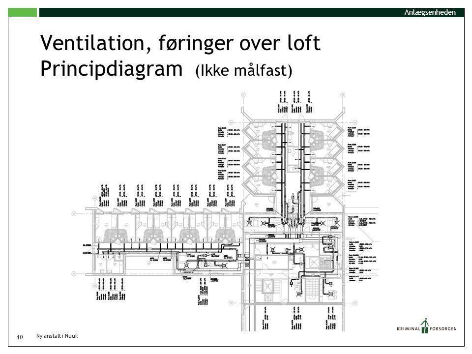 Ventilation, føringer over loft Principdiagram (Ikke målfast)