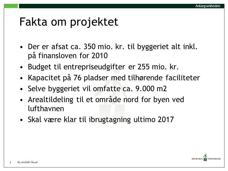 Anlægsenheden Fakta om projektet. Der er afsat ca. 350 mio. kr. til byggeriet alt inkl. på finansloven for 2010.