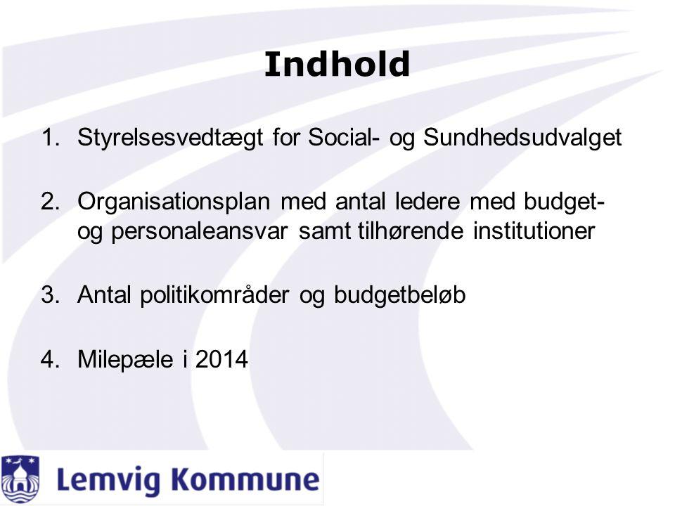 Indhold Styrelsesvedtægt for Social- og Sundhedsudvalget