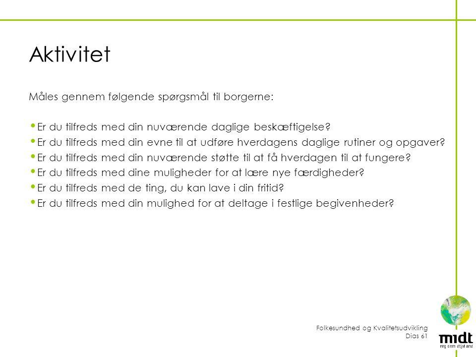 Aktivitet Måles gennem følgende spørgsmål til borgerne: