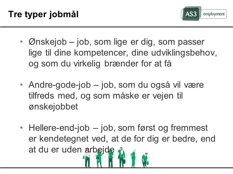 Tre typer jobmål Ønskejob – job, som lige er dig, som passer lige til dine kompetencer, dine udviklingsbehov, og som du virkelig brænder for at få.