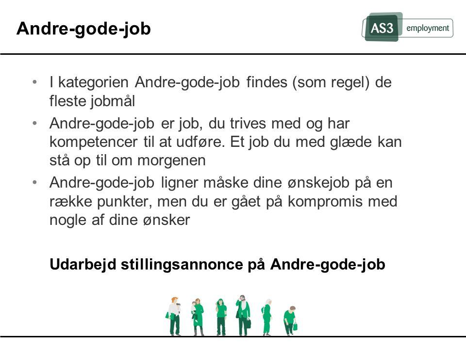Andre-gode-job I kategorien Andre-gode-job findes (som regel) de fleste jobmål.