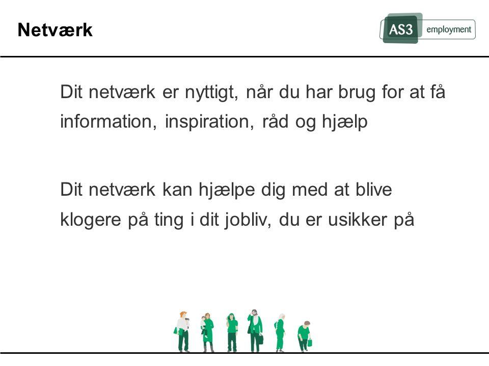 Netværk Dit netværk er nyttigt, når du har brug for at få information, inspiration, råd og hjælp.