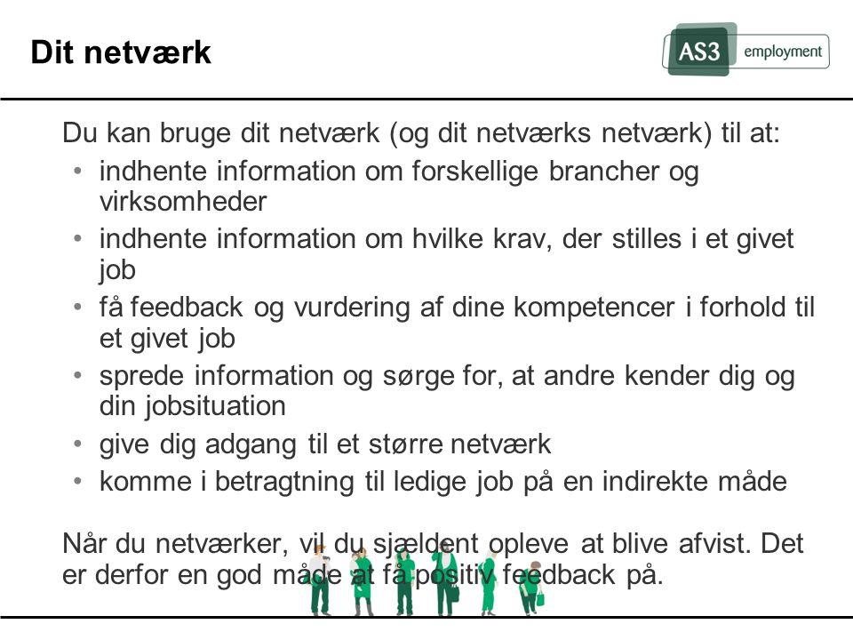 Dit netværk Du kan bruge dit netværk (og dit netværks netværk) til at: