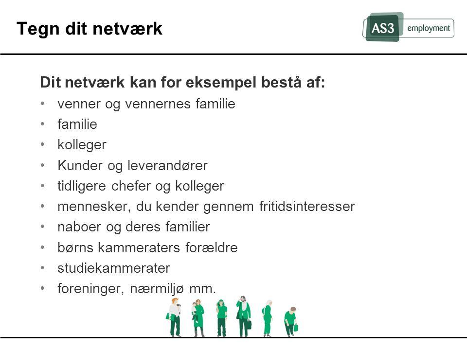 Tegn dit netværk Dit netværk kan for eksempel bestå af: