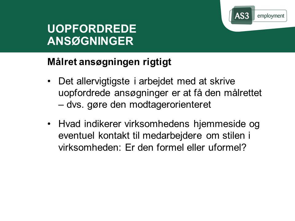 UOPFORDREDE ANSØGNINGER