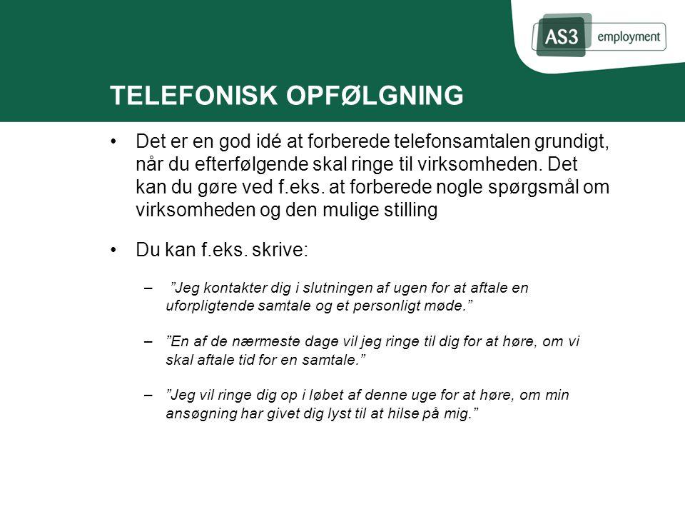TELEFONISK OPFØLGNING
