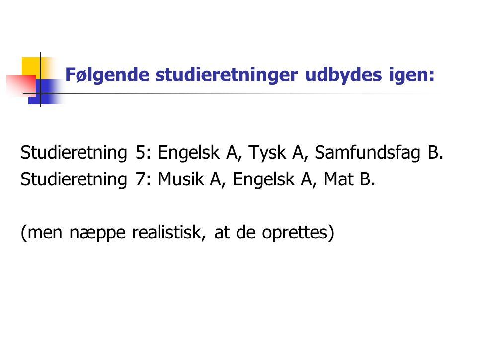 Følgende studieretninger udbydes igen: