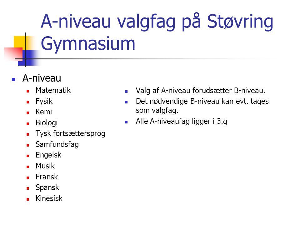 A-niveau valgfag på Støvring Gymnasium