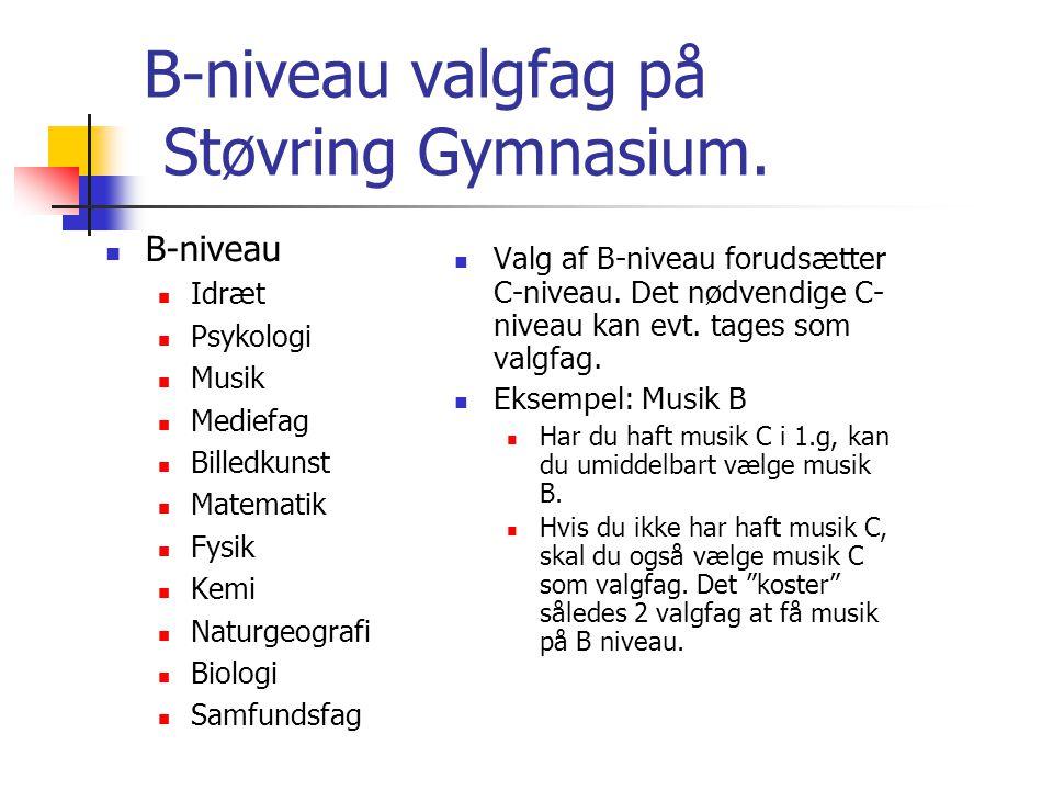 B-niveau valgfag på Støvring Gymnasium.