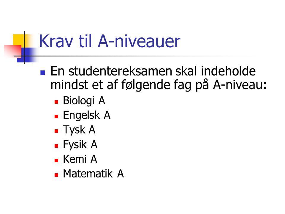 Krav til A-niveauer En studentereksamen skal indeholde mindst et af følgende fag på A-niveau: Biologi A.