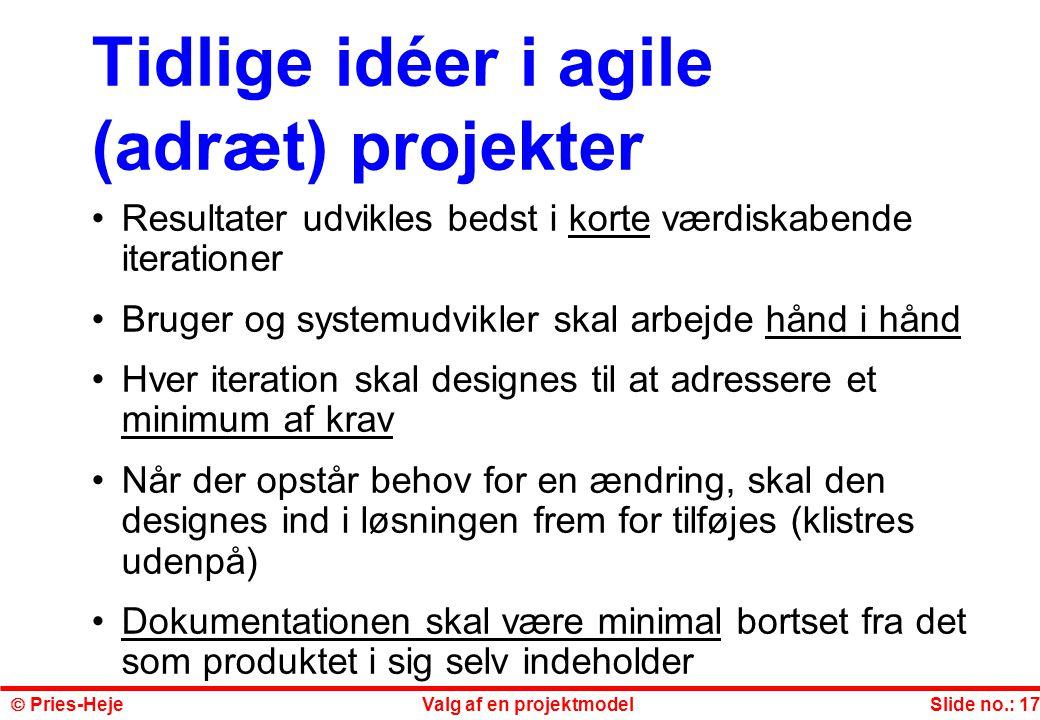 Tidlige idéer i agile (adræt) projekter