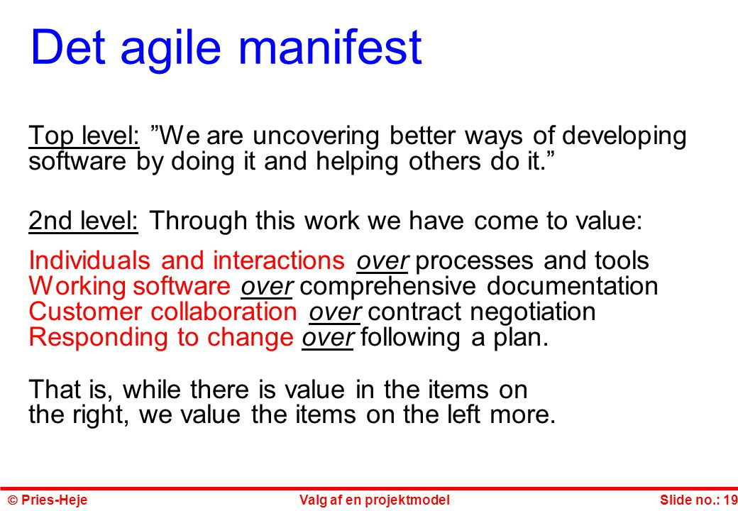 Det agile manifest Top level: We are uncovering better ways of developing software by doing it and helping others do it.