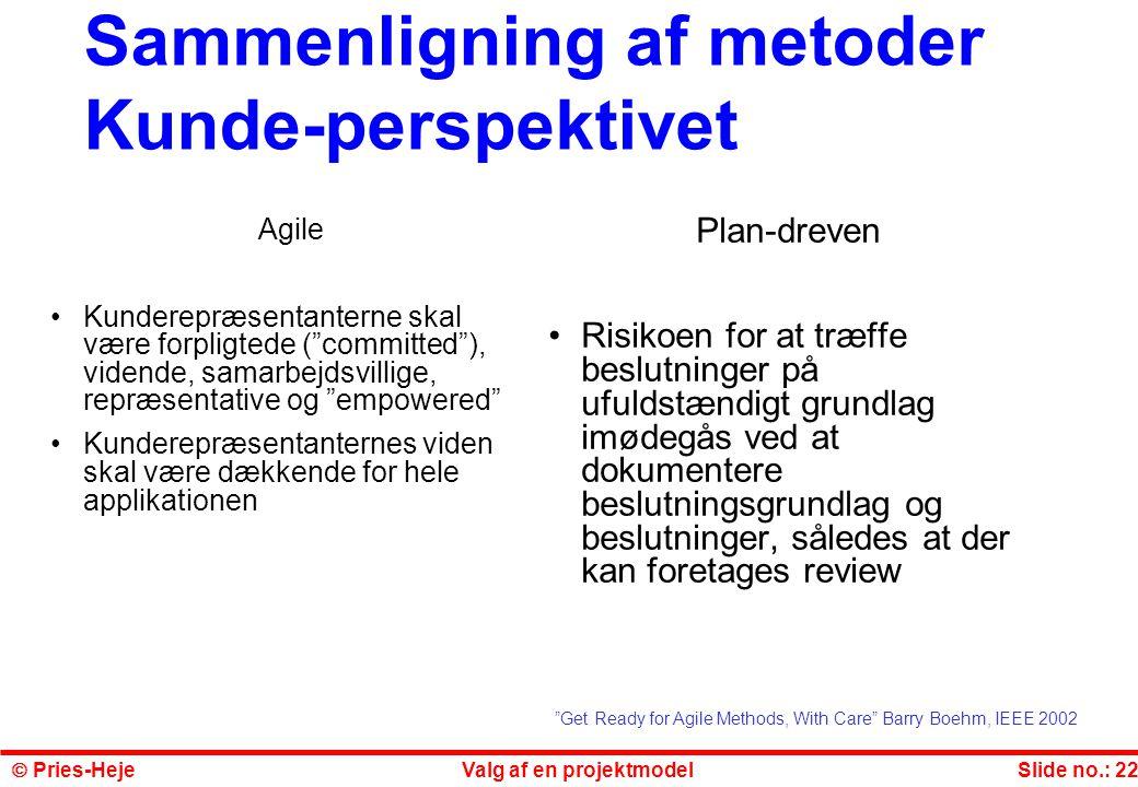 Sammenligning af metoder Kunde-perspektivet