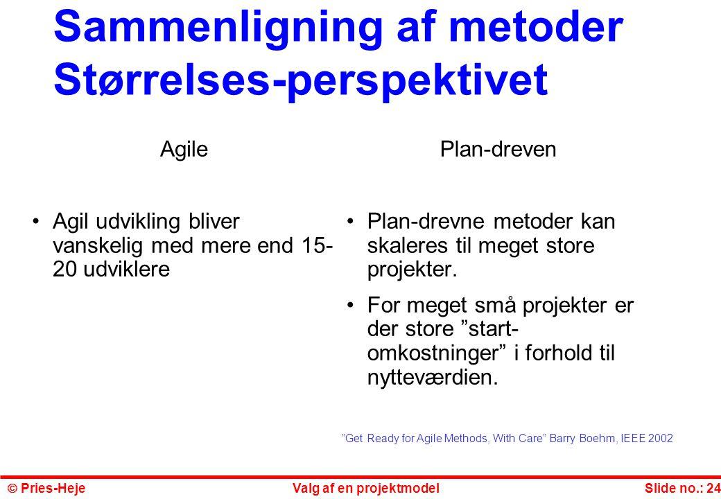 Sammenligning af metoder Størrelses-perspektivet