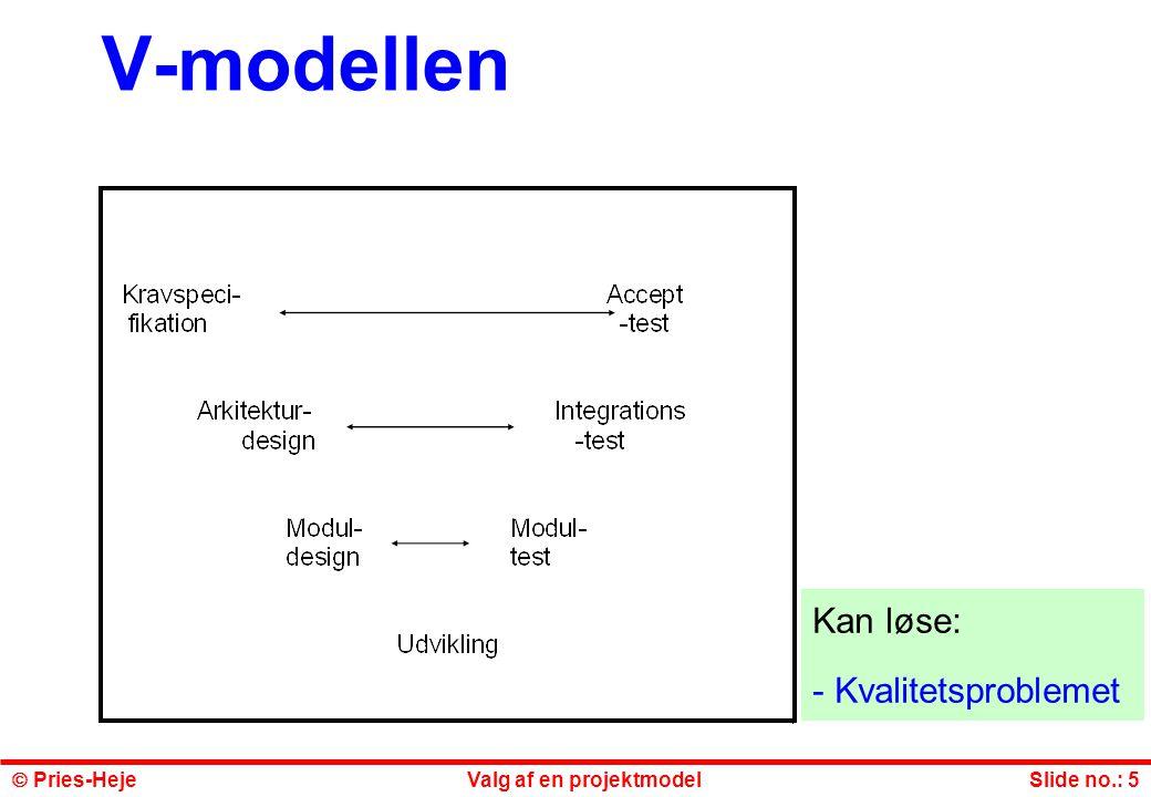 V-modellen Kan løse: Kvalitetsproblemet