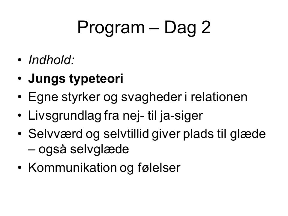 Program – Dag 2 Indhold: Jungs typeteori