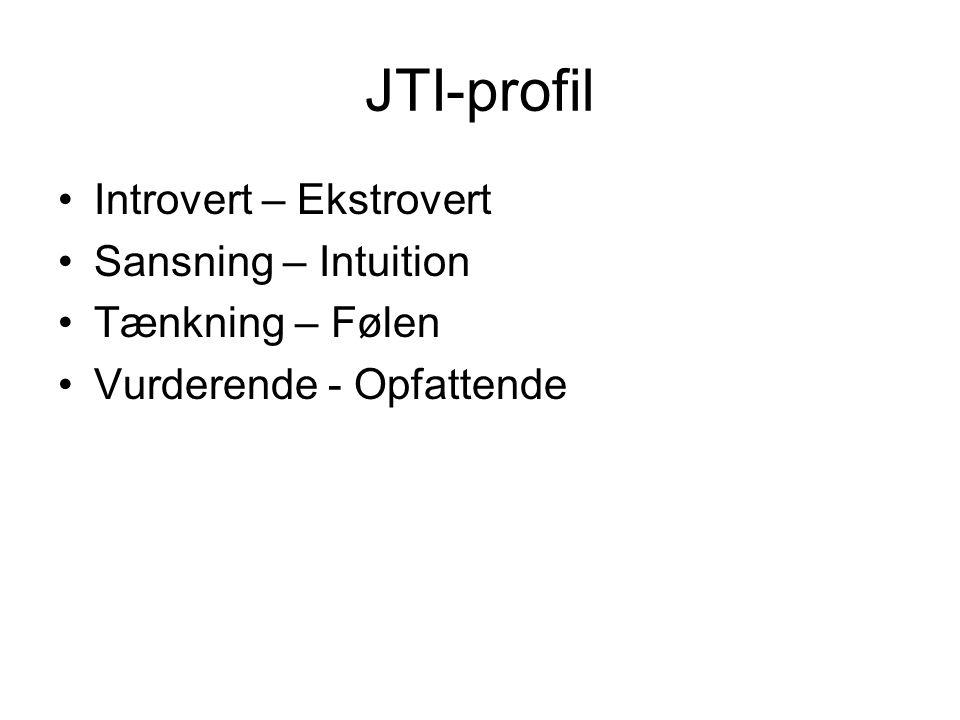 JTI-profil Introvert – Ekstrovert Sansning – Intuition