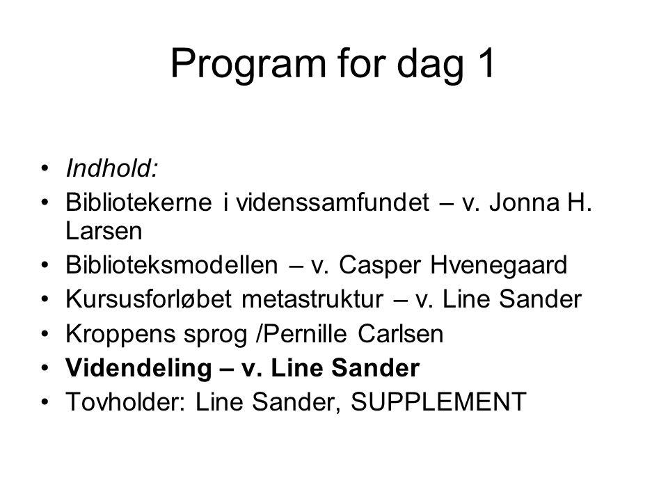 Program for dag 1 Indhold: