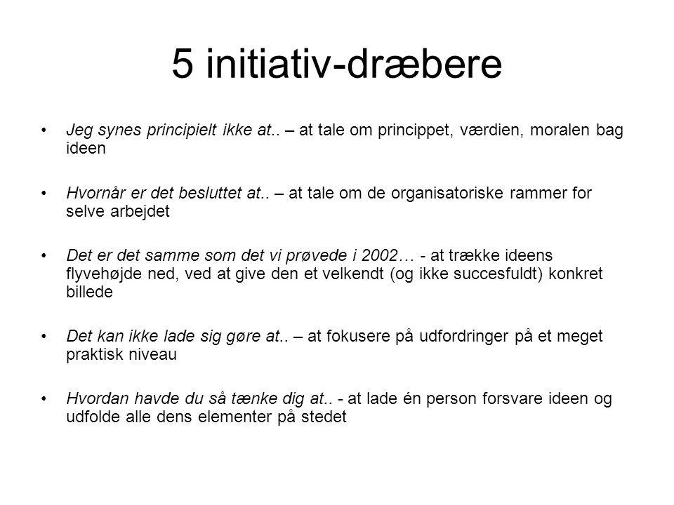 5 initiativ-dræbere Jeg synes principielt ikke at.. – at tale om princippet, værdien, moralen bag ideen.