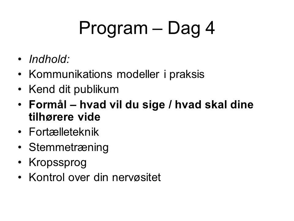 Program – Dag 4 Indhold: Kommunikations modeller i praksis