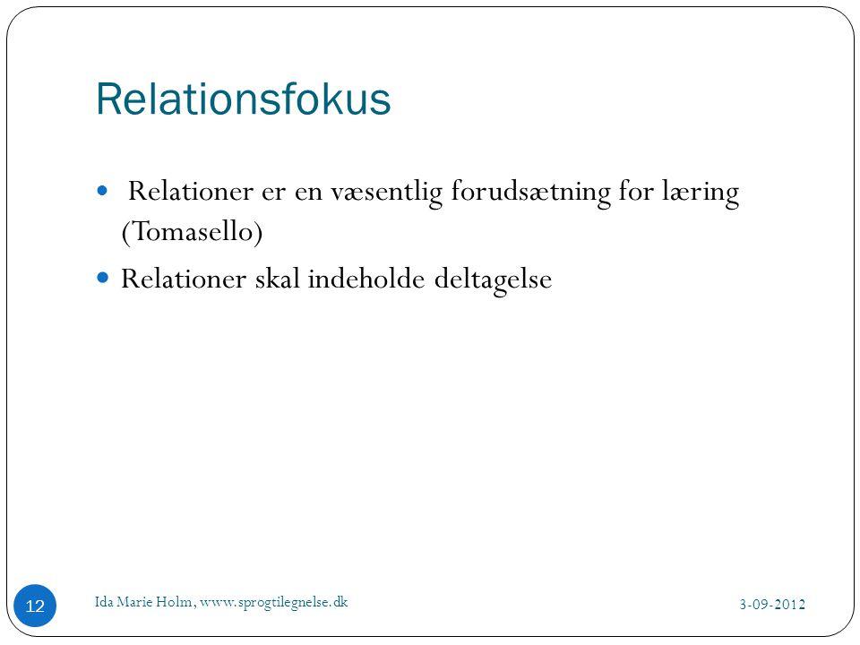 Relationsfokus Relationer skal indeholde deltagelse