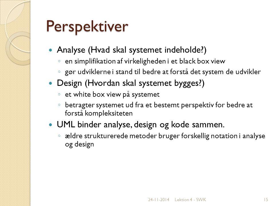 Perspektiver Analyse (Hvad skal systemet indeholde )