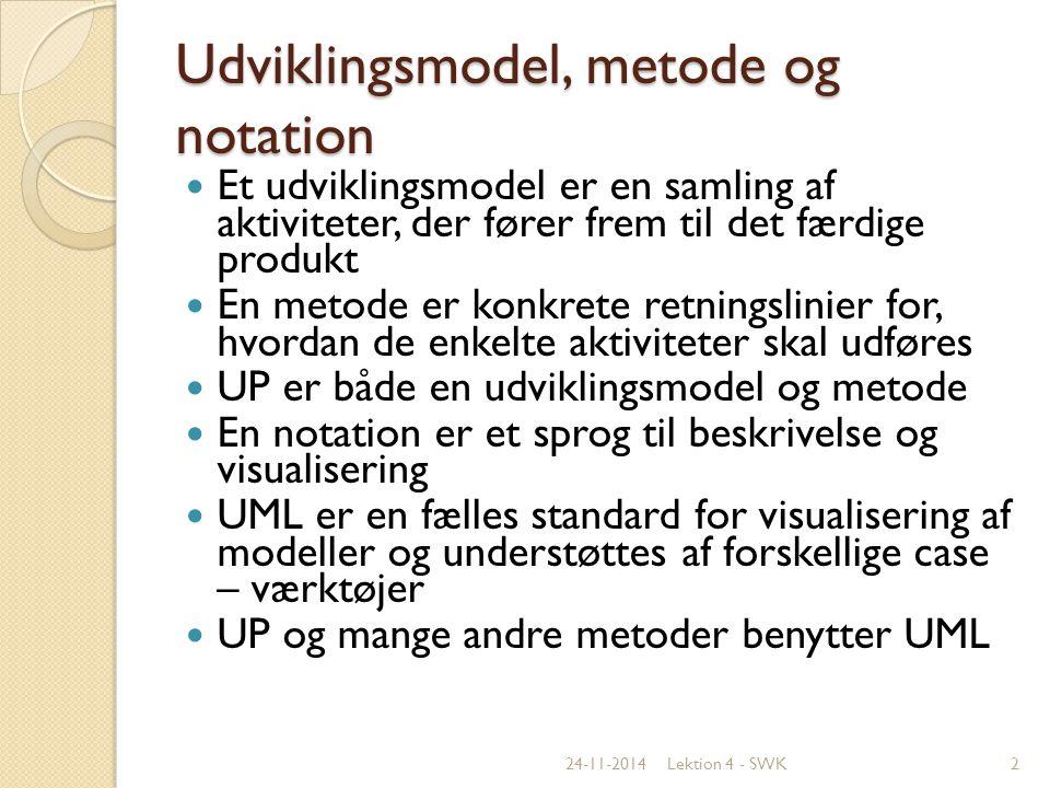 Udviklingsmodel, metode og notation